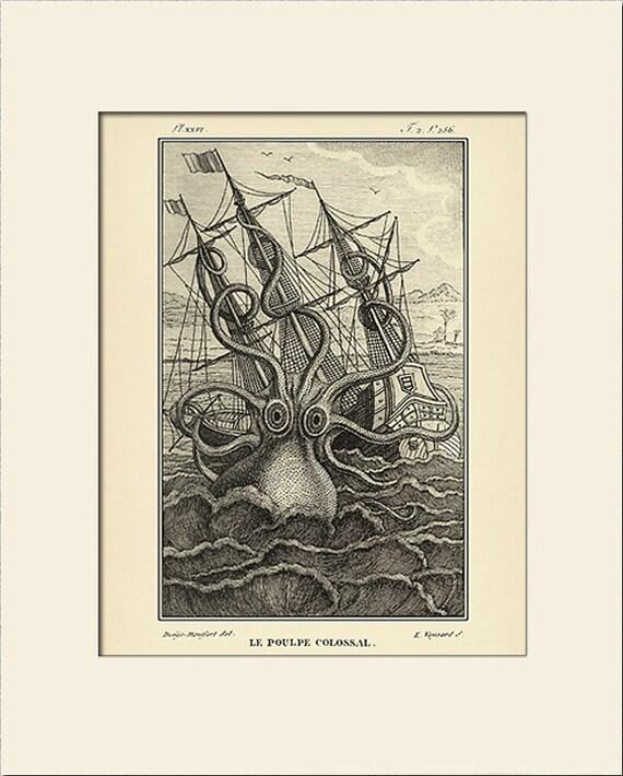 Giant Octopus Print, Art Print with Mat, Antique Natural History Illustration, Wall Art, Nautical Art, Sea Life Prints, Vintage Wall Decor