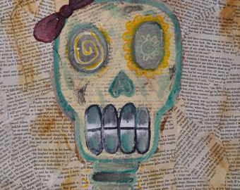 Mixed media acrylic skull painting//stained newspaper background on canvas//PRINTS AVAILABLE