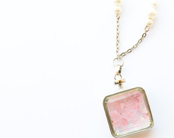 Pink Rose Quartz Chain Necklace - Handmade, One-of-a-Kind