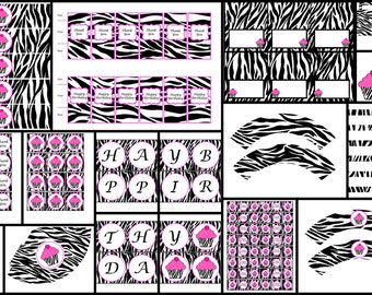 Zebra Cupcake Theme - Printable Birthday Decorations