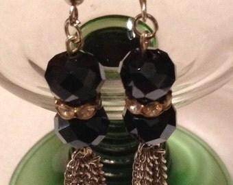 E2 Czech fire polished rondelles earrings