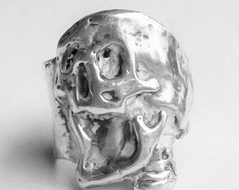 Mens Skull Ring, Mens Sterling Silver Ring, Mens Biker Ring, Rocker Ring, Goth Ring,biker jewelry,.925,Johnny Depp Jewelry - Lugdun Artisans
