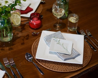 Organic Cotton & Hemp Dinner Napkins, Navy Ticking Stripe, Set of 4