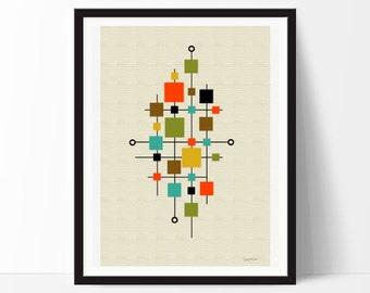 Scandinavian art nº2- contemporary, Minimalist, Cubist, Modernist ,Abstract, geometric, Eames, interior design, print, home decor, poster-