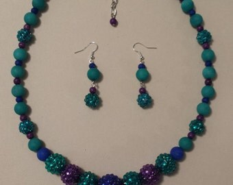 Teal, Royal, and Purple Bling 2 piece Necklace Set