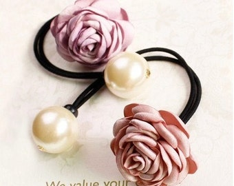 Hand Made Silk Rose Hair Nylon Stretch Ponytail Hair Band With a Pearl