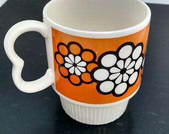 Vintage Orange Flower Coffe Cup