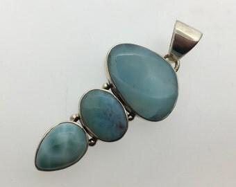 Larimar Light Blue Sterling Silver Pendant