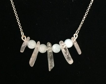 Sea Glass and Aquamarine Bar Necklace