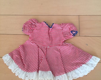 Red & White striped doll dress