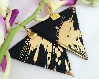 Black and gold triangle earrings geometric jewellery, shinny textile fabric accessories