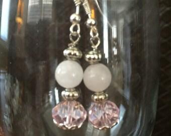 Pink & White drop earrings