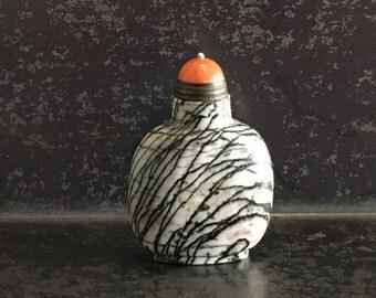 Black and White Zebra/Picasso Jasper Chinese Snuff Bottle 20thC