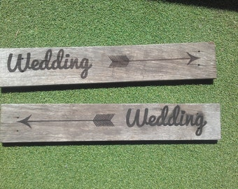 Rustic Laser Engraved wood Wedding Sign pointing Right