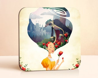 Beauty and the Beast Coaster | Princess Coaster | Fairy Tale Coaster | Gift for Her | Wood Coasters | Teen Girl Gift | Drink Coasters