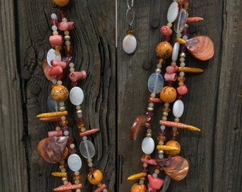 Coral, Dyed Howlite + Amber Necklace