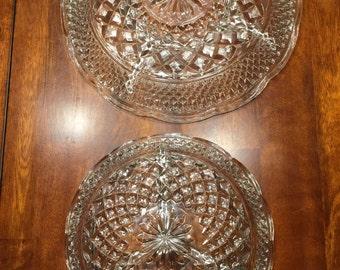 2 appetizer serving crystal plates.