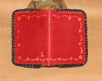 Hand Made,4 card slots, 2 hidden pockets, and dbl Lace.