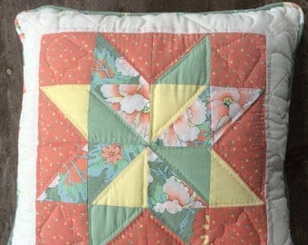 Quilted Throw Pillow - Floral design