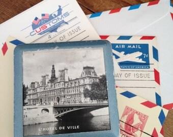 paris souvenir compact hotel de ville black and white photograph boho chic paperweight - Compact Hotel Decor
