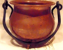 Vintage German Copper~Witches Cauldron~Incense Burner~Candle Holder~Flower Pot~Altar Bowl~Hand Pounded Copper~German Gift~Kitchen Witch Deco