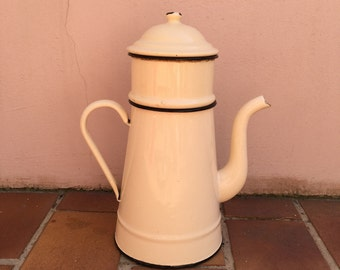 Nice Vintage French Enamelware beige Enamel Coffee Pot