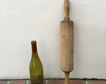 Vintage Wood Kitchen Roll rolling Pin bakery french 2