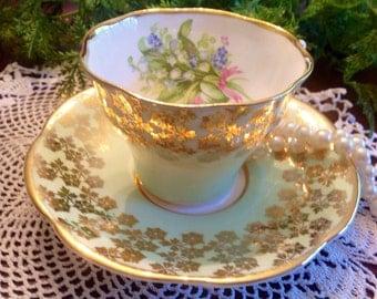 Clare bone china teacup and saucer