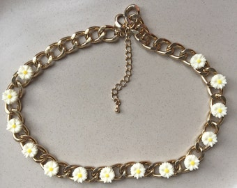 Vintage daisy flower chain necklace GP, era 1990s