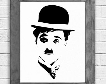 Charlie Chaplin Print, Charlie Chaplin Poster, Media Room Decor, Home Theater Decor, Movie Poster, Celebrity Art, Theater Gifts, Wall Art
