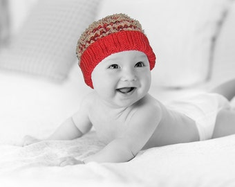 Hand Knit Baby Hat & Bootie Set - Baby Girl - 0 to 3 Months