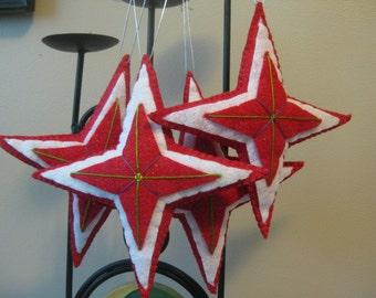 Sparkly Wool Felt Christmas Star Ornament