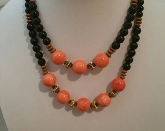 Eye of the Tiger/Black and Orange beaded Necklace and earring set