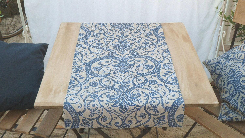 Runner di lino per tavolo blu beige blu marino shabby chic - Runner per tavolo ...