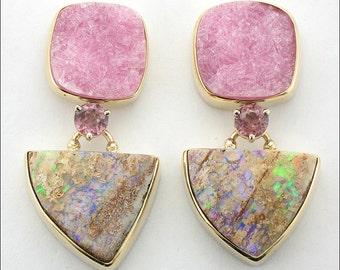 Micky Roof Australian Opal, Rhodolite Garnet and Pink Drusy Quartz Dangle Post Earrings in 14K Yellow Gold