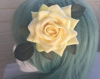 Pin Up Large Yellow Rose Tiki Hair clip