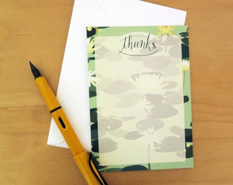 Thank you Cards, Notelet 6pk, Notecards, Thanks, Mint Green Waterlilies Pattern