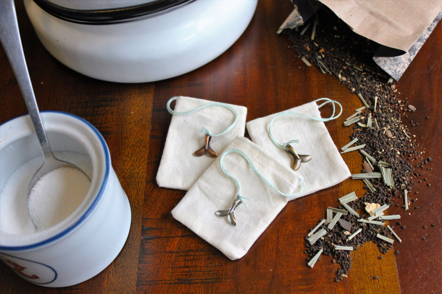 100% Cotton Reusable Tea Bags Set of 3 with Whale Tail