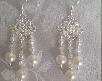 Swarovski Pearl and Crystal AB Chandelier Wedding Earrings Silver White
