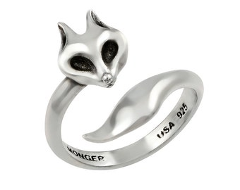 Antiqued Sterling Silver Adjustable Fox Ring / Thumb Ring