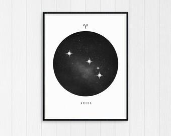 Aries Print, Aries Zodiac, Aries Art, Aries Printable Birthday Gift, Aries Constellation, Horoscope Decor, Digital Download, Zodiac Art