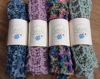 Organic cotton crocheted face cloths, waffle texture