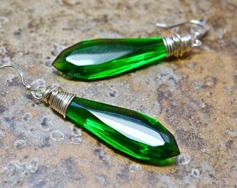 Sparkling Kelly Green Dangle Earrings, Silver Wire Wrap Jewelry, Crystal Points, Irish Green Jewelry
