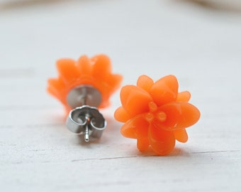 Orange Lotus Flower Earrings, Tangerine Studs, Yoga Jewelry, Lotus + Bliss, Bright Tropical Colored Jewelry