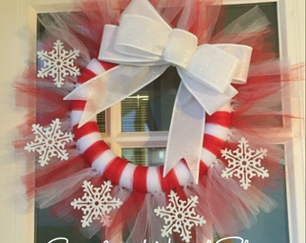 READY TO SHIP! Christmas wreath, tulle wreath, red and white wreath, snowflake wreath