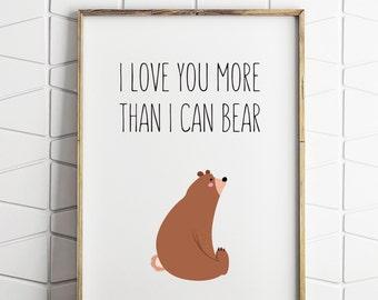 bear wall decor, bear download, bear nursery decor, bear instant download, bear prints, bear quote art, bear nursery art