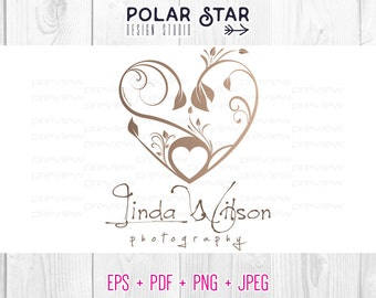 Floral Heart - Premade Logo Customized For Wedding, Nature Photography / Any Business - Vector Logo Design (045)