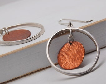 Sterling Silver Hoop Earrings with Hanging Hammered Copper Discs