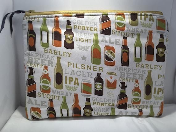 Beer bag, Beer fabric purse, Beer clutch , Beer pouch
