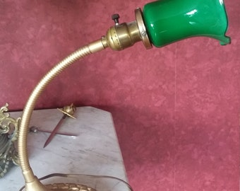 Vintage Desk Lamp with Green Glass Shade